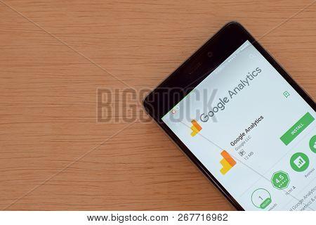Bekasi, West Java, Indonesia. November 9, 2018 : Google Analytics Dev App On Smartphone Screen. Anal