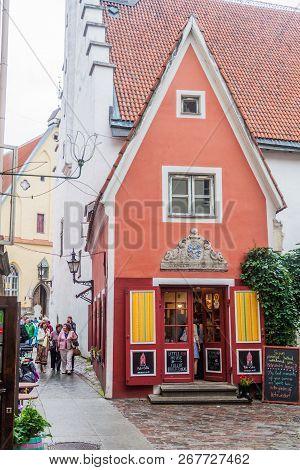 Tallinn, Estonia - August 22, 2016: Design Shop Oma Asi The Little Red House In Tallinn.