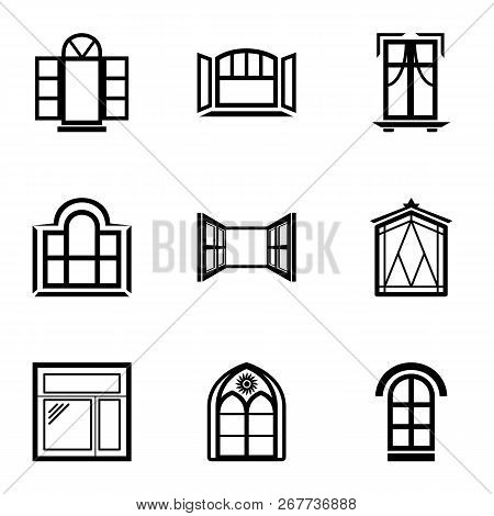 Open Window Icons Set. Simple Set Of 9 Open Window Vector Icons For Web Isolated On White Background