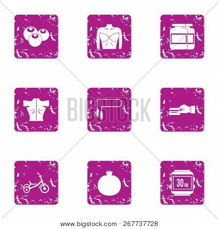 Physiological State Icons Set. Grunge Set Of 9 Physiological State Vector Icons For Web Isolated On