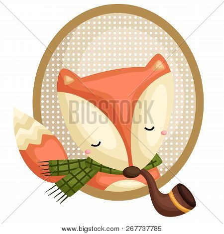 A Vector Of A Fox Wearing Scarf And In A Frame
