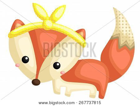A Vector Of A Cute Fox With Pattern And Wearing Bandana