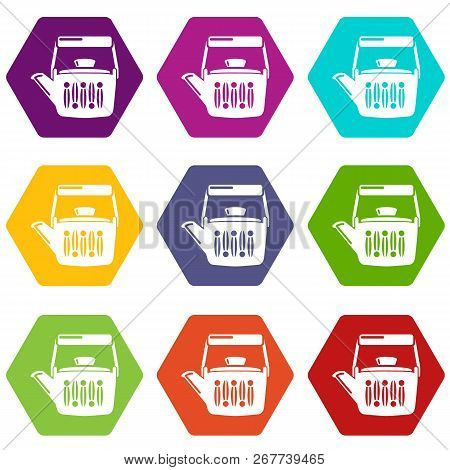 Teatime Icons 9 Set Coloful Isolated On White For Web