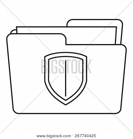 Protected Folder Icon. Outline Illustration Of Protected Folder Icon For Web Design Isolated On Whit