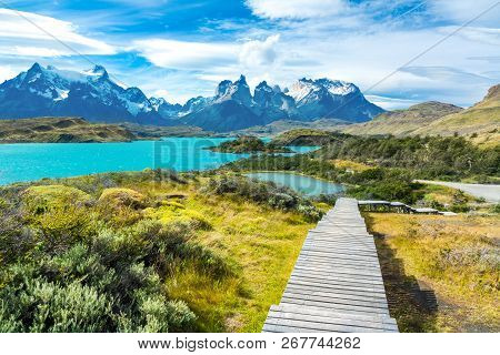 Pehoe Lake And Guernos Mountains Beautiful Landscape, National Park Torres Del Paine, Patagonia, Chi