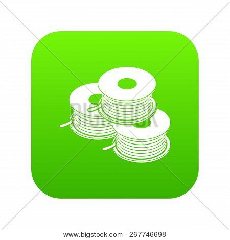 Coil For D Printer Icon Green Vector Isolated On White Background
