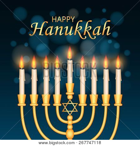 Happy Hanukkah Concept Background. Realistic Illustration Of Happy Hanukkah Concept Background For W