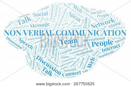 Non Verbal Communication Word Cloud. Wordcloud Made With Text Only.