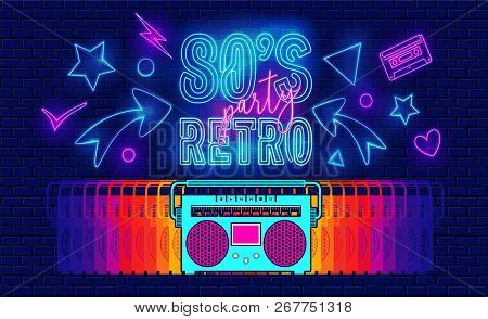 80s, Retro, Future Music Party Banner Cover. Old Style Vector Poster. Disco Fluorescent Neon Style F