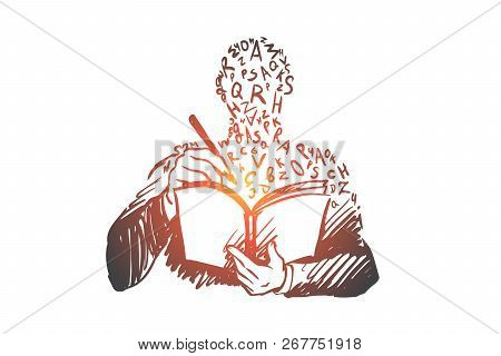 Education, Book, Knowledge, Study, University Concept. Hand Drawn Person Learning With Book Concept