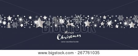 Christmas Time. Dark Blue And Silver Snowflake And Star Seamless Border With Reindeer And Tree. Text