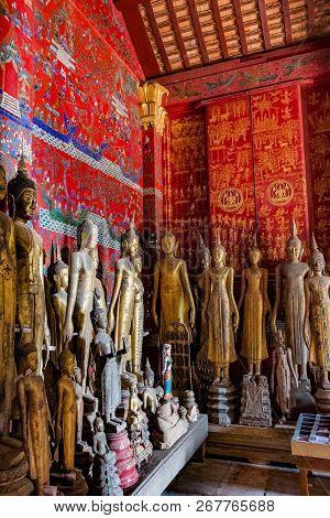 Ancient Buddha Statues At Wat Xieng Thong, Luang Prabang, Laos