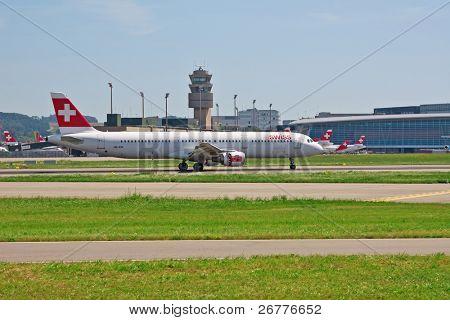 ZURICH - APRIL 17: Airplanes in Zurich airport  grounded due to Volcanic eruption on 17 April 2010 in Zurich, Switzerland.