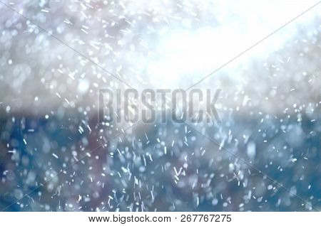 Snow Bokeh Texture On Blurred Background