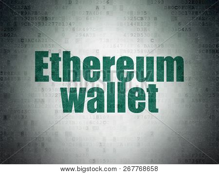 Cryptocurrency Concept: Ethereum Wallet On Digital Data Paper Background