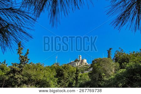 White Limestone Chapel Of St. George On Mont Lykabettos With Blue Sky, Athens
