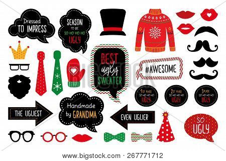 Ugly Christmas Sweater Party  Photo Booth Props. Merry Christmas And Happy New Year Photobooth. Pull