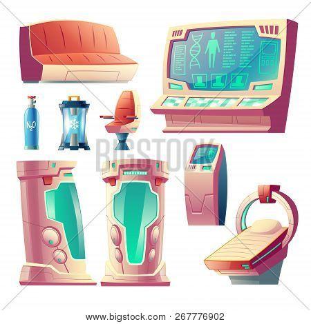 Vector Cartoon Set With Futuristic Equipment For Hibernation, Empty Cryogenic Cameras For Sleeping I