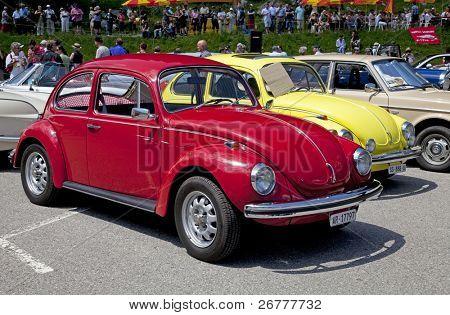 "SCHWAEGALP - JUNE 27: The VW Beetle on the 7th International ""Oldtimer meeting"" in Schwaegalp, Switzerland on June 27, 2010"