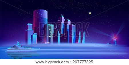 Vector Background With Yacht In Sea, Lighthouse And City On Island. Purple Megapolis On Water, Exter