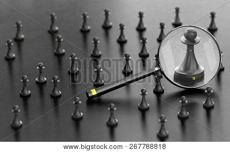 3d Illustration Of Pawns Over Black Background With A Magnifier Fucussing The Best One. Concept Of B