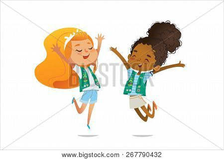 Young Smiling Girls Scout Dressed In Uniform With Badges And Patches Happily Jump Isolated On White