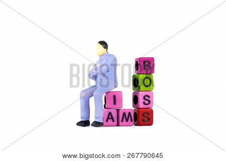 Businessman Or Manager Or Boss Sitting On Boss Text Made From Beads Or Letter Bead