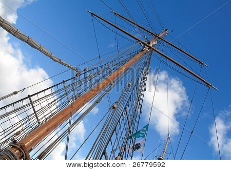 Upwards view of the old ship's masts