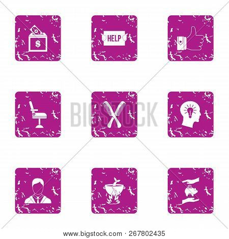 Cash Assist Icons Set. Grunge Set Of 9 Cash Assist Vector Icons For Web Isolated On White Background