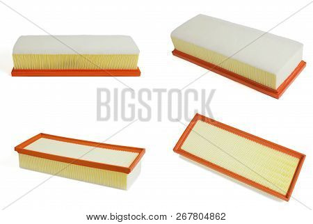 Air Filter For Car. Auto Spare Parts Isolated On White Background