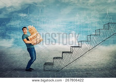 Frustrated Young Man Too Much Burden, Lean Back Carrying Heavy Boxes With Debt Word Text, Have To Cl