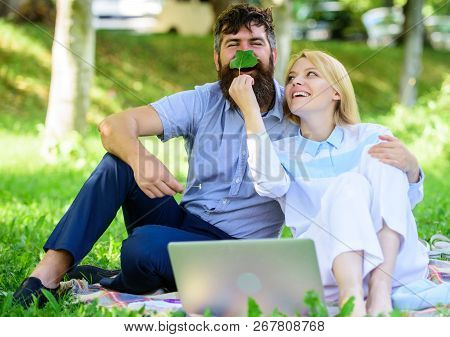 Couple In Love Or Family Work Freelance. Modern Online Business. How To Balance Freelance And Family