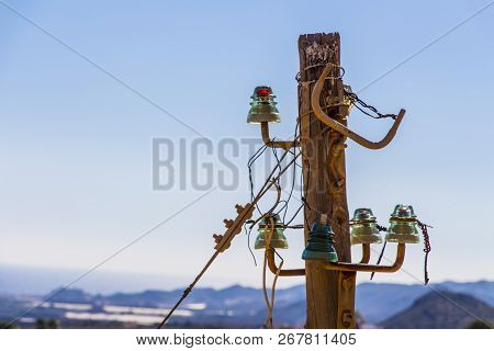 Vintage Power Lines On A Wooden Pole, Power Line Column, Abandoned Pole, Vintage Wooden Pole