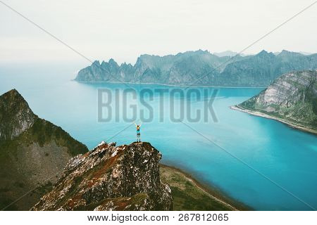 Norway Vacations Woman Standing Alone On Cliff Mountain Edge Above Sea Travel Adventure Lifestyle Ou