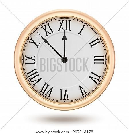 Golden Clock, Isolated On White Background, Design Element For New Years Invitation And Greeting Car