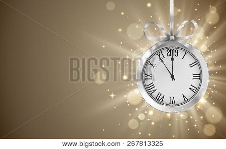 Shiny Background With Silver Clock, Hanging On Silver Ribbon With Bow, New Years Invitation And Gree