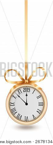 Golden Clock, Hanging On Golden Ribbon With Bow, Design Element For New Years Invitation And Greetin