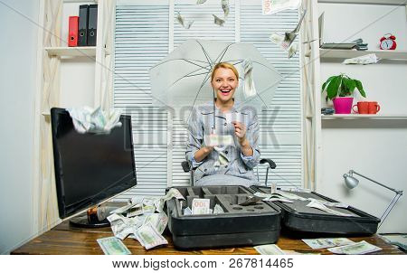 Money Falling From Ceiling. Woman Business Lady Or Accountant Under Umbrella. Financial Success. Acc