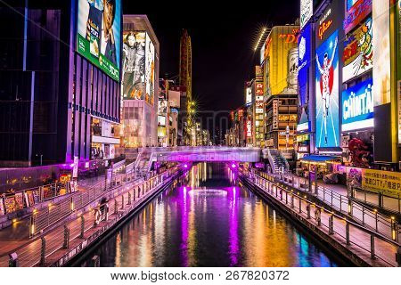 Dotonboti Street In Namba Is The Best Sightseeing Attraction And Famous Place In Osaka With Colorful
