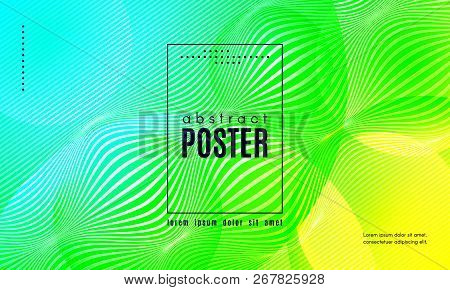 Wave Poster With Fluid Shapes. Gradient Abstract Background With Movement Of Wave Liquid Forms. Line
