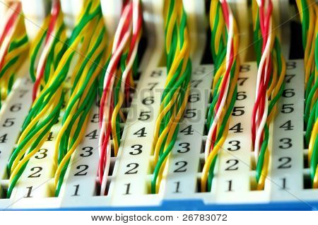 View of colorful electrical wires and cable