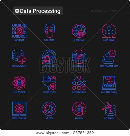 Data Processing Thin Line Icons Set: Data Science, Filtering, Deep Learning, Mobile Syncing, Big Dat