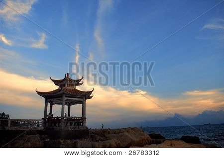 Silhouette of Chinese gloriette in shanghai China poster