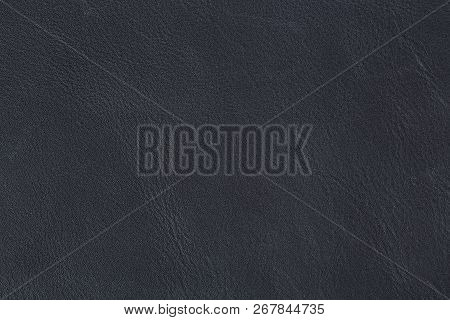 Natural Dark Blue Leather Texture. Natural Old Blue Leather On Macro.