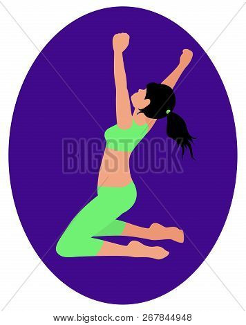 Athletic Girl In Green Clothes Kneeling With Arms Raised And Rejoices At Her Victory