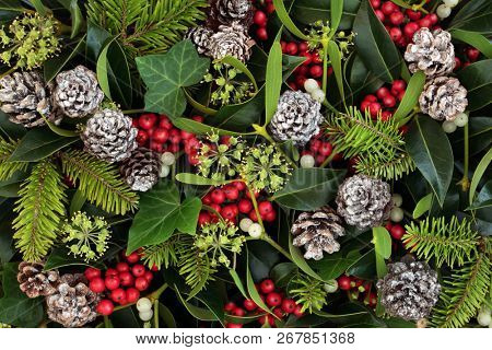Natural winter and Christmas background with holly, ivy, mistletoe and pine cones. Traditional Christmas greeting card for the festive season.