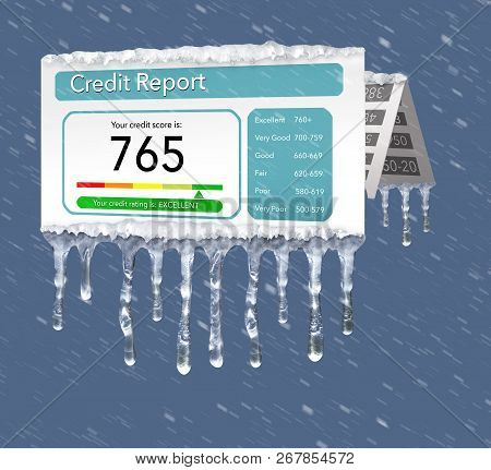 A Credit Freeze, Or Freeze On Your Credit Report Is Represented With Icicles And Snow On A Mock Cred