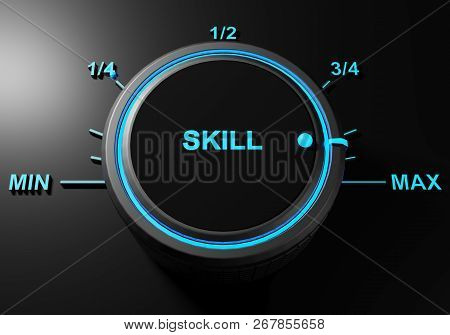Handle Selector For Skill Is On Maximum Level - 3d Rendering Illustration