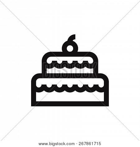 Birthday Cake Icon Isolated On White Background. Birthday Cake Icon In Trendy Design Style. Birthday