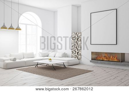 Corner Of Modern Living Room With White Walls, Wooden Floor, Arched Window, And White Sofa Near Coff